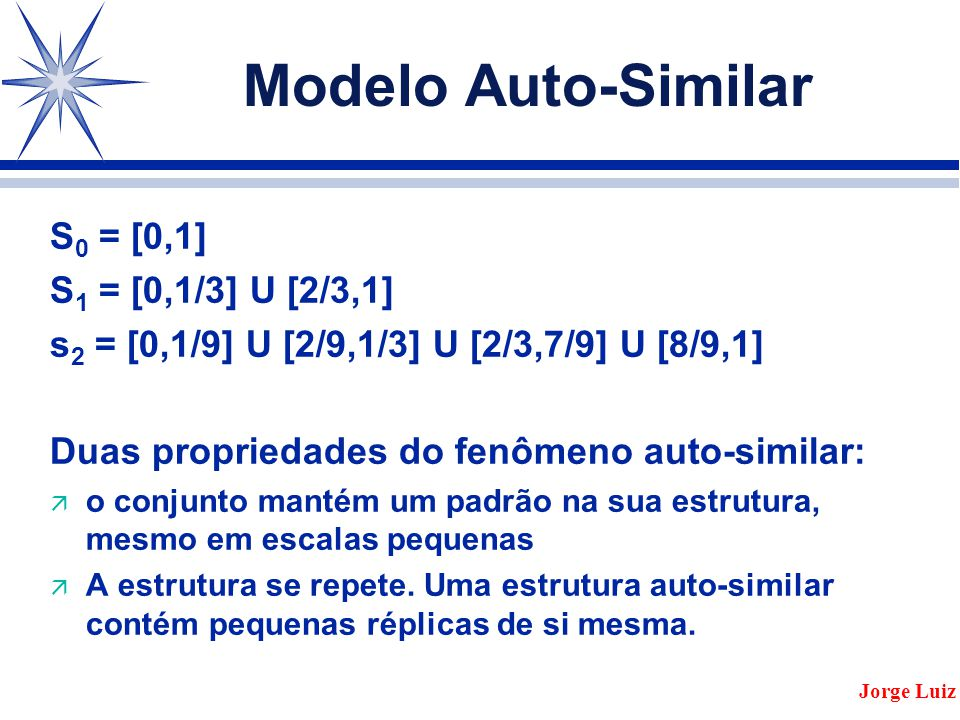 Modelo Auto-Similar S0 = [0,1] S1 = [0,1/3] U [2/3,1]